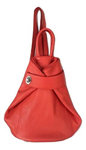 (LaGaksta Stella Italian Leather Fashion Backpack Purse Top-Handle Shoulder Bag (Orange Coral))