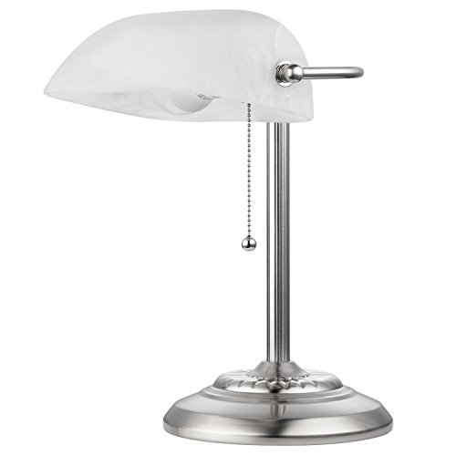Bankers Lamp Contemporary (Novogratz x Globe Electric 12711 Globe Electric STL Banker Desk Lamp, Brushed Steel)