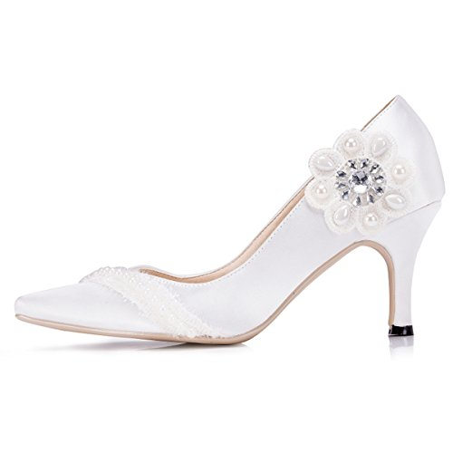 Kevin Fashion Zms1537 Da Donna Slip-on In Raso Da Sposa Festa Di Nozze Scarpe Da Ballo Bianco