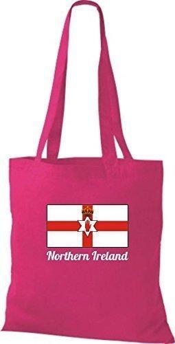 ShirtInStyle Bolso de tela Bolsa de algodón Yute de país Northern Irlanda Irlanda del norte - fucsia, 38 cm x 42 cm Fucsia