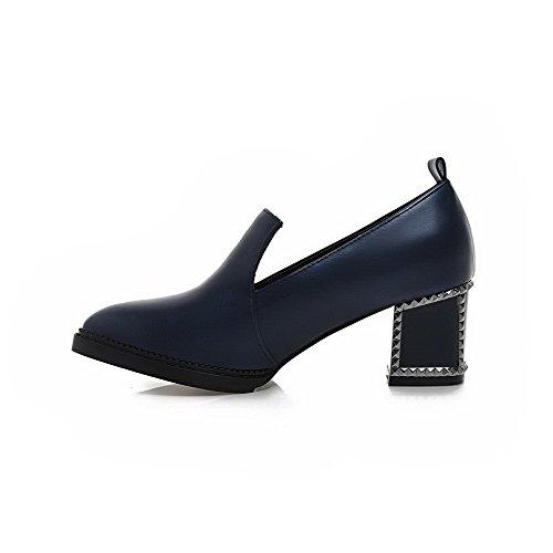 Amoonyfashion Womens Kitten Hakken Zacht Materiaal Pull-on Puntige Dichte Teen Pumps-schoenen Royalblue