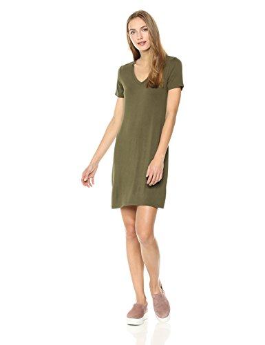 8af6f1112f58 Daily Ritual Women's Jersey Short-Sleeve V-Neck T-Shirt Dress, Olive ...