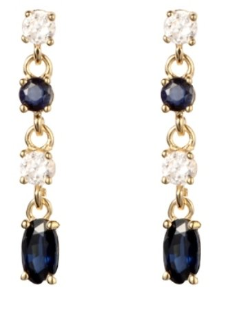 9ct Yellow Gold Real Sapphire Drop Earring 4fyLL