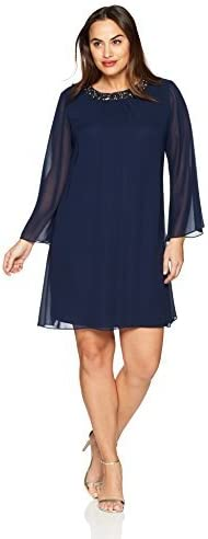 S.L. Fashions Women's Plus Size Sequined Long Sleeve Dress