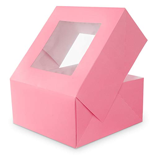 Professional Bakery Box Pink Cake Box with Window-10 pack-10x10x5 inch Durable