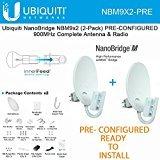 Ubiquiti NanoBridge M9 NBM9 2-PACK PRE-CONFIGURED 900MHz NBM900 Antenna & Radio