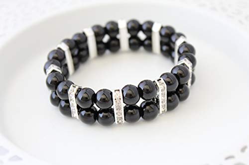 Black Glass Pearl Silver Plated Cuff Bracelet Holiday Christmas Gift for Women