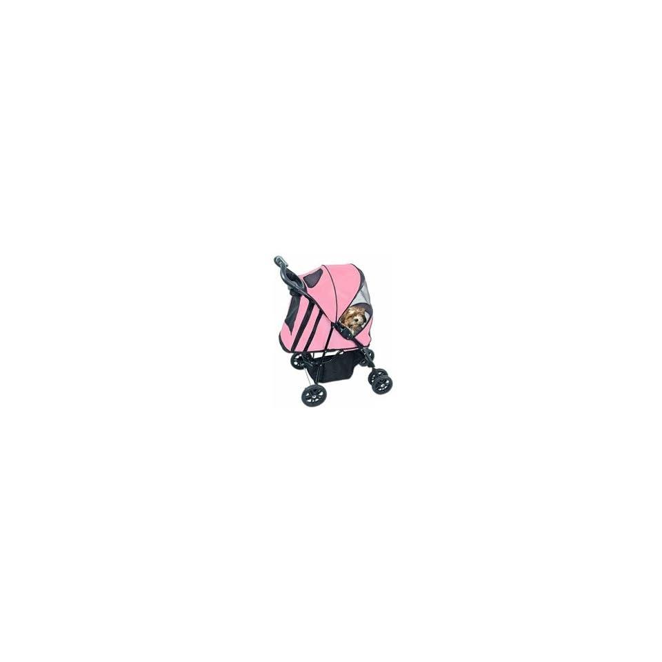 4 Wheel Deluxe Pet Dog Cat Stroller Pink