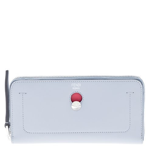 Fendi Women's Dotcom Calfskin Clutch Wallet Grey