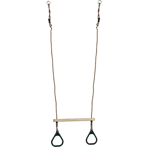 Wooden Trapeze Bar With Green Rings For Climbing Frames And Garden Swings