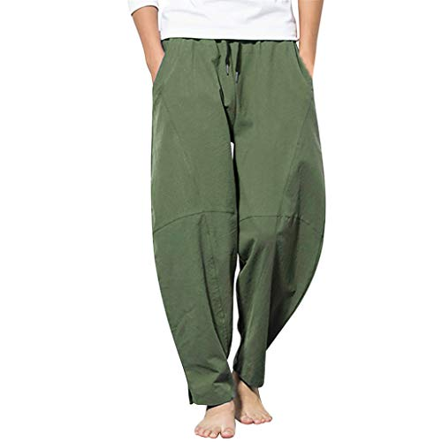 Men's Pants Casual Cotton Linen Drawstring Breathable Loose Jogger Straight-Leg Trouser with Pockets Green