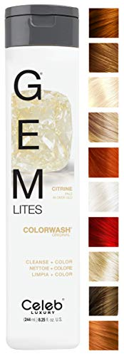 Celeb Luxury Gem Lites Colorwash: Citrine Pale Blonde Glo, Color Depositing Shampoo, 10 Traditional Colors, Stops Fade in 1 Quick Wash, Cleanse + Color, Sulfate-Free, Cruelty-Free, 100% Vegan