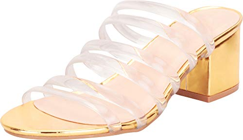 Cambridge Select Women's Clear See-Through Transparent Strappy Chunky Block Mid Heel Slide Sandal,9 B(M) US,Gold