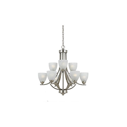 Lumenno Lighting 8001-03-09 Chandelier with White Swirl Alabaster Glass Shades, Satin Nickel Finish