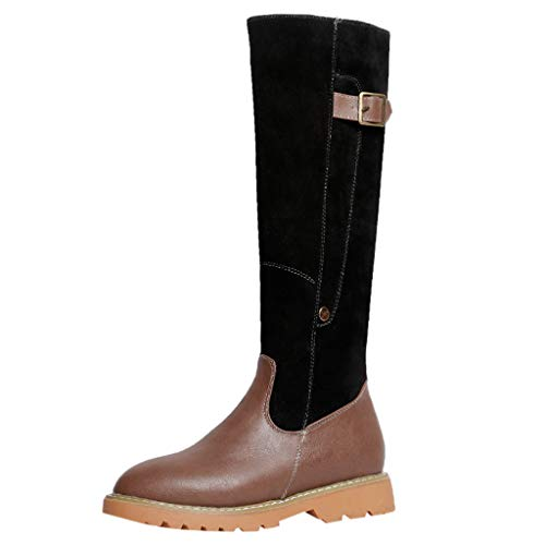 Cenglings Women Thigh Boots, Round Toe Knee High Square Heel Zipper Leather Boots Flat Shoes Faux Fur Snow Boots Long Boots