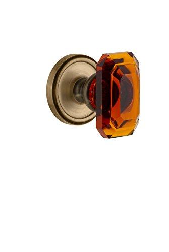 Grandeur 828445 Georgetown Rosette Privacy with Baguette Crystal Knob in Vintage Brass, 2.375