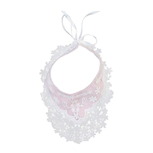 Ecurson Baby Newborn Infants Toddler Cotton Floral Lace Waterproof Bibs (Pink) ()