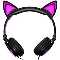 iWave LED Light-Up Cat Over-Ear Wired Headphones (Several Colors)