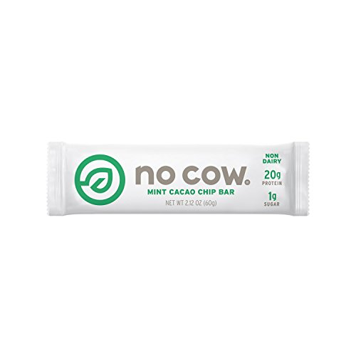 No Cow Protein Bar, Mint Cacao Chip, 20g Plant Based Protein, Low Sugar, Dairy Free, Gluten Free, Vegan, High Fiber, Non-GMO, 12 Count – 2.12 oz Each