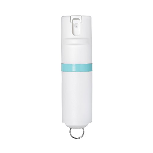 - POM White Pepper Spray Keychain Model - Maximum Strength Self Defense OC Spray Safety Flip Top 10ft Range Compact Discreet for Keys Backpack Quick Key Release (Aqua)