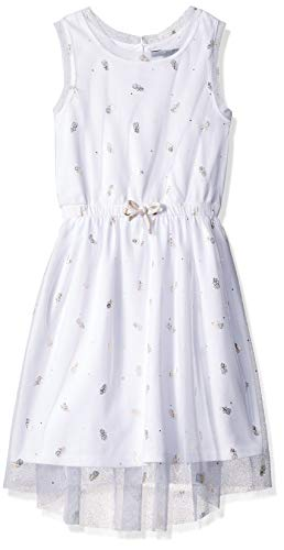 Nautica Girls' Patterned Sleeveless Dress mesh white 2T