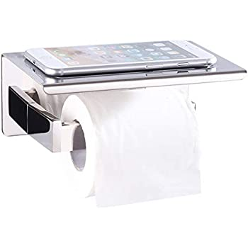 Toilet Paper Holder with Shelf, Angle Simple SUS304 Stainless Steel Bath Tissue Holder, Toilet Roll Hanger with Phone Rack, Toilet Paper Dispenser with ...