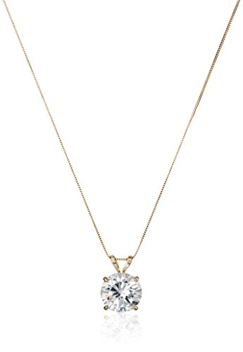 14k Yellow Gold 8mm Round Cubic Zirconia Solitaire Pendant Necklace (2 carat, Diamond Equivalent), 18