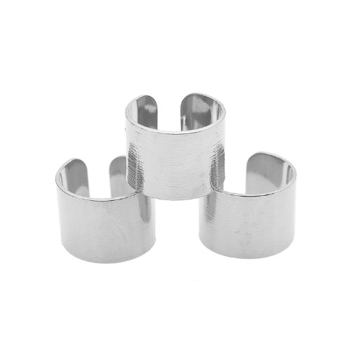 SpinningDaisy Adjustable Brushed Metal Tube Knuckle Ring Set of 3 (Silver Plated) ()