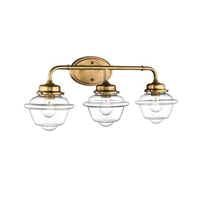 Millennium Lighting Neo-Industrial Heirloom Bronze Three-Light Vanity with Clear Schoolhouse Glass
