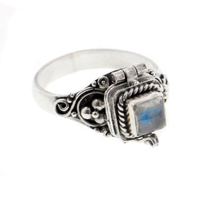 (Square Sterling Silver Rainbow Moonstone Poison Box Locket Ring Size 6(Sizes 4,5,6,7,8,9,10,11))