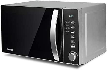 Microondas sin Grill, 20 Litros, 700 W, Temporizador hasta 1 hora, 9 Niveles de Potencia, Descongelación, Acero, Negro. H.Koenig_VIO2