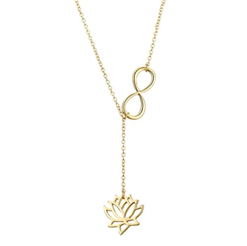 - Female Lucky Number 8 Necklace Personality Fashion Flower Clavicle Chain Pendant Gold