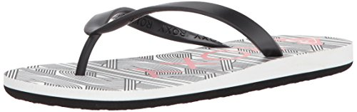 Roxy Women's Tahiti Vi Sandals Flip Flop, Black/Wave Print, 6 M (Roxy Print Sandals)