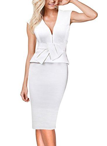 VFSHOW Womens V Neck Bow Ruffle Peplum Work Business Party Sheath Dress 725 WHT L ()