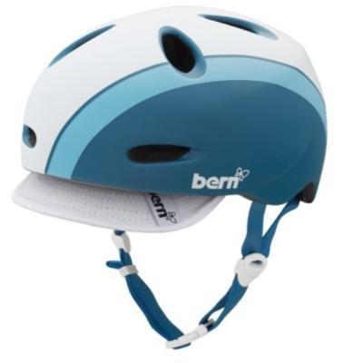 BERN Berkeley Summer Matte Helmet with Visor (Atlantic Blue Bomber, Small) ()
