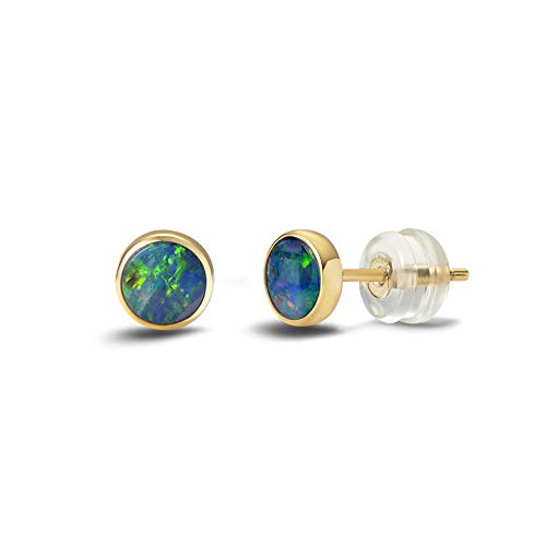 - Agvana 18K Solid Yellow Gold Au750 Real Genuine Natural Fire Opal 0.2