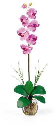 - Nearly Natural 1104-MA Single Phalaenopsis Liquid Illusion Silk Flower Arrangement, Mauve