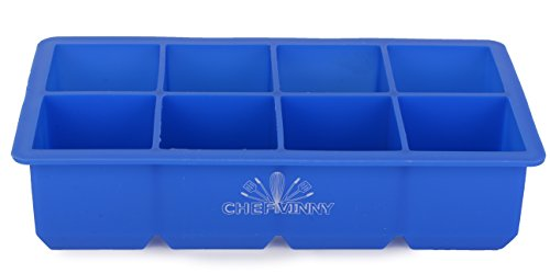 Chef Vinny Classic King Size Ice Cube Tray (8 Cube, Dark Blue) (Lemon Lime Shots Ice Cream)