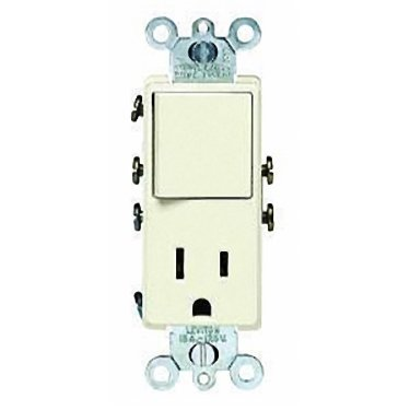 Leviton 5625-ASP 15 Amp, 120 Volt, Combination Decora Switch/Receptacle, New Rocker Style, Premium Spec Grade, Almond