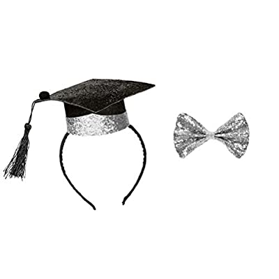 Amosfun Graduation Cap Headband with Silver Bow Tie Graduation Party Cosplay Costume Accessory for Graduation Party Favor Supplies: Toys & Games