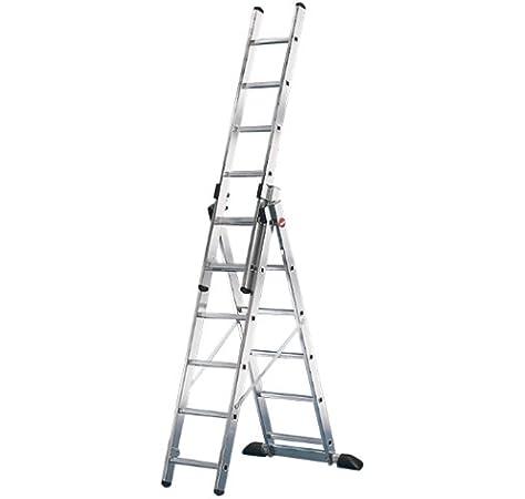 Hailo ProfiStep-Combi - Escalera industrial 3 tramos de aluminio con estabilizador recto (3 x 6 peldaños): Amazon.es: Zapatos y complementos