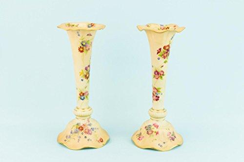 Royal Worcester Antiques (2 Bone China Flute Flower Vases Royal Worcester Art Nouveau Antique English Circa 1910 Edwardian Pink Tall)