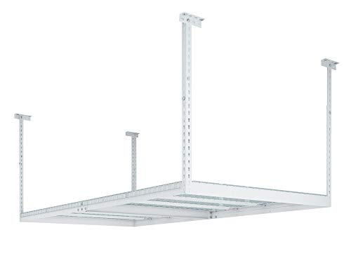 NewAge Products 40152 Ceiling Mount Garage Storage Rack, 4 by 8', White ()