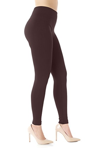 Warm Fleece Lined Leggings for Women - Ultrasoft Premium Quality - High Waisted Slimming - 10 Winter Colors by NYFC (S/M (0-10), Brown)