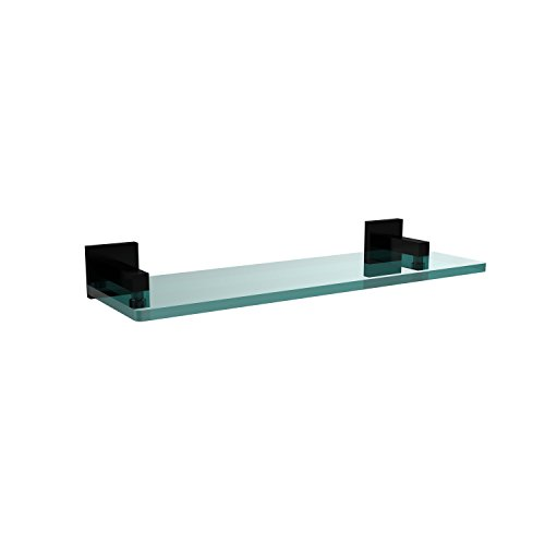 - Allied Brass MT-1-16-BKM Montero Collection 16 Inch Glass Vanity Shelf with Beveled Edges Matte Black