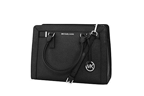 MICHAEL Michael Kors Women's Dillon Shoulder Bag Medium Leather Satchel Handbag (BLACK) by MICHAEL Michael Kors