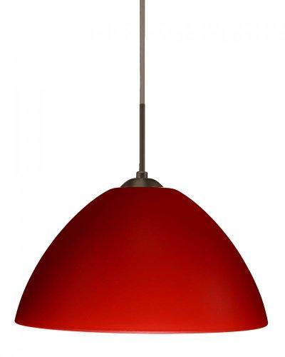 Besa Lighting 1JC-420131-LED-BR 1X6W GU24 Tessa LED Pendant with Red Matte Glass, Bronze Finish