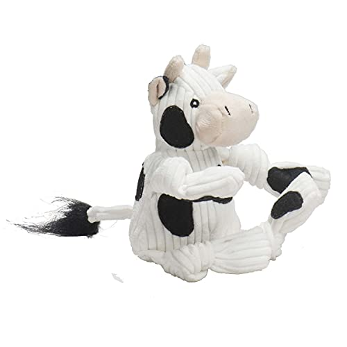 HuggleHounds Plush Corduroy Durable Squeaky Knottie Dog Toy for Aggressive Chewers