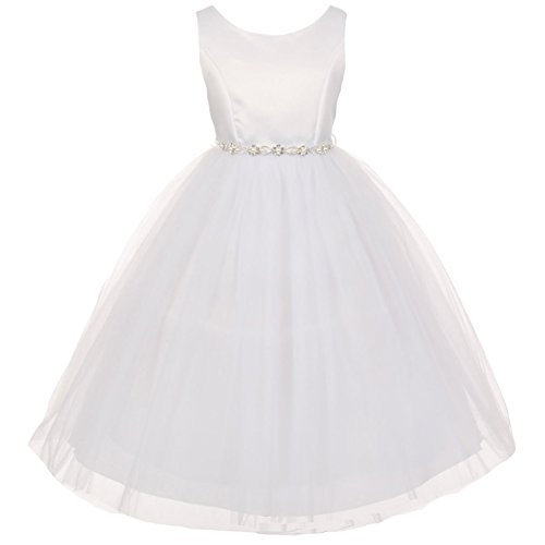 CrunchyCucumber Big Girls Sleeveless Satin Bodice Layers Tulle Skirt Pearl Organza Sash Flower Girl Dress White - Size 10