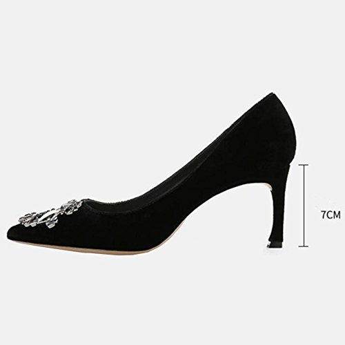 Women's Autumn Suede Mid Heels Shallow Mouth high Single Pointed Shoes Black 3jSt8pw